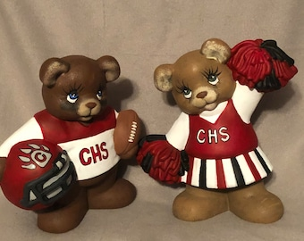 Cottonwood Bears Football Player and Chearleader Set Ceramic Art
