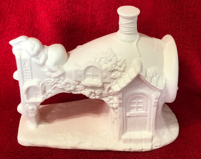 Featured listing image: Very Rare Ceramic Sewing Machine Bisque with Rabbit ready to paint