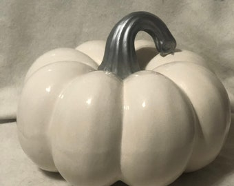 Ceramic Milk Glazed Pumpkin with silver stem