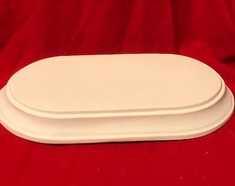 Vintage Gare Decorative Oval Base in ceramic bisque ready to paint