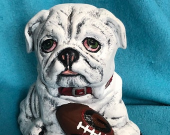 UGA Bulldog Dry Brushed Ceramic Art