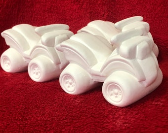 Clay Magic's Set of 3 Ceramic ATV's in bisque ready to paint (truck not included)