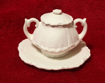 Very Rare Miniature Pot and Saucer, 3 piece set in ceramic bisque ready to paint