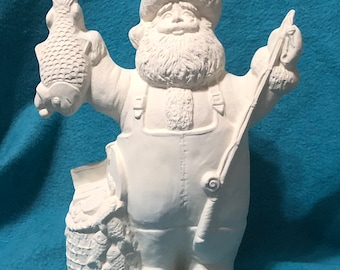 Fishing Santa Ceramic Bisque ready to paint