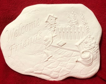 Welcome Friends Plaque Wall Hanging in cerakic bisque ready to paint