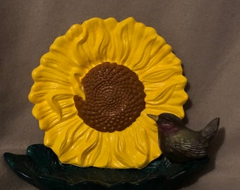 Ceramic Sunflower with Bird and Leaf Tray