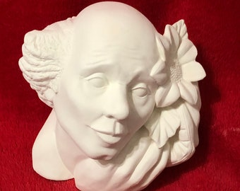 Rare Clown Bust in ceramic bisque ready to paint