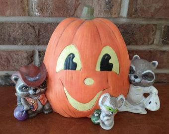 Ceramic Pumpkin with Raccoons and Critter dry brushed using Mayco Softee Stains