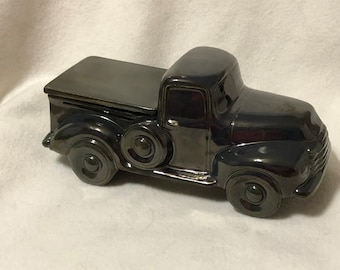 Black Ice Glazed Classic Pickup with Tonneau Lid and rubber stopper, jewelry box or candy dish