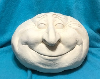 Large Smiling Face Rock Ceramic Bisque ready to paint