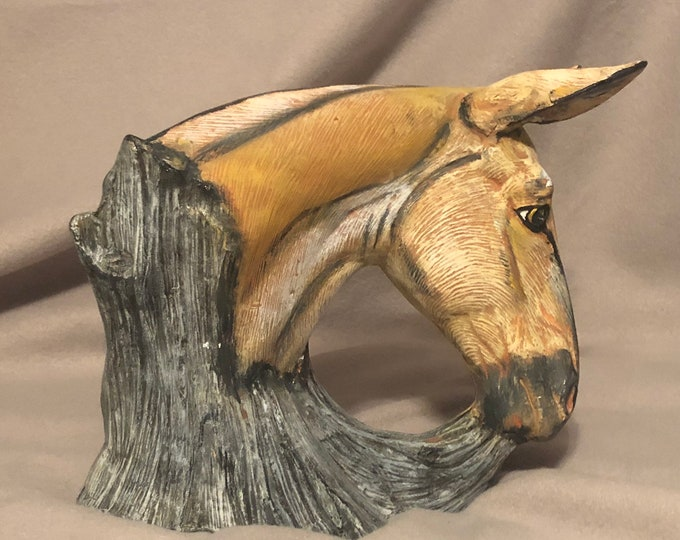 Ceramic Mule one of a kind painting