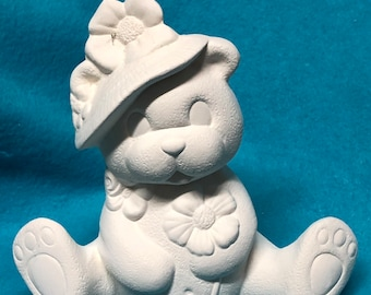 Bear with Flowers in Hat Ceramic Bisque