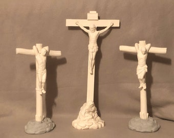 Crucixion with Jesus and the two thieves in ceramic bisque ready to paint