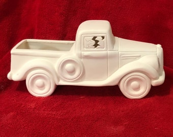 Old Time Jalopy with cut outs in ceramic bisque ready to paint