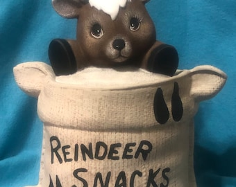 Dry Brushed Ceramic Burlap Sack Reindeer Cookie Jar