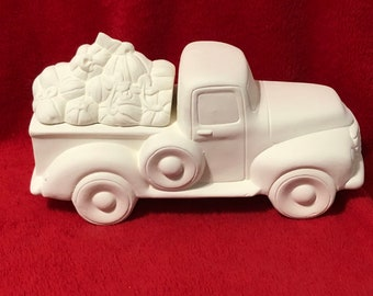 Classic Pickup Truck Box with Pumpkins ceramic bisque ready to paint
