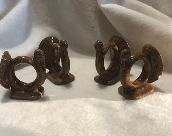 Set of 4 Autumn Glazed Ceramic Turney Napkin Rings