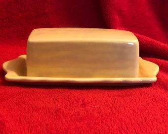 Glazed Ceramic Vintage Butter Dish