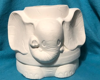 Crackpot Elephant Vase Ceramic Bisque