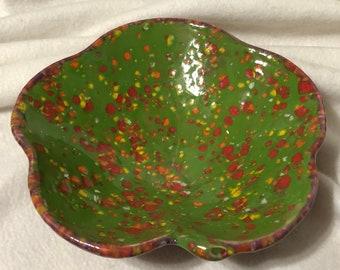 Rare Glazed Ceramic Leaf Bowl