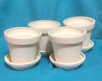 Set of Four Ceramic Flower Pot Bisques ready to paint