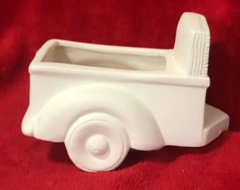 Ceramic Trailer to Clay Magic's Classic Pickup Truck in ceramic bisque ready to paint