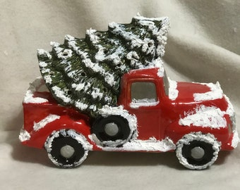 Glazed Red Ceramic Classic Pickup Truck and Tree with holes for lights and snow