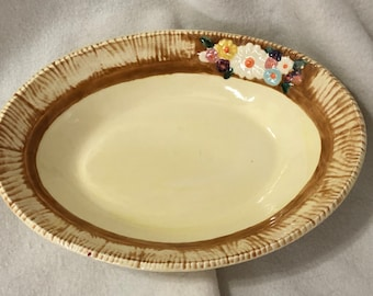 Rare Glazed Ceramic Floral Serving Dish with Flowers