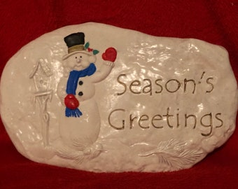 Gold Glitter Glazed Ceramic Wall Hanging with Snowman and Birdhouse