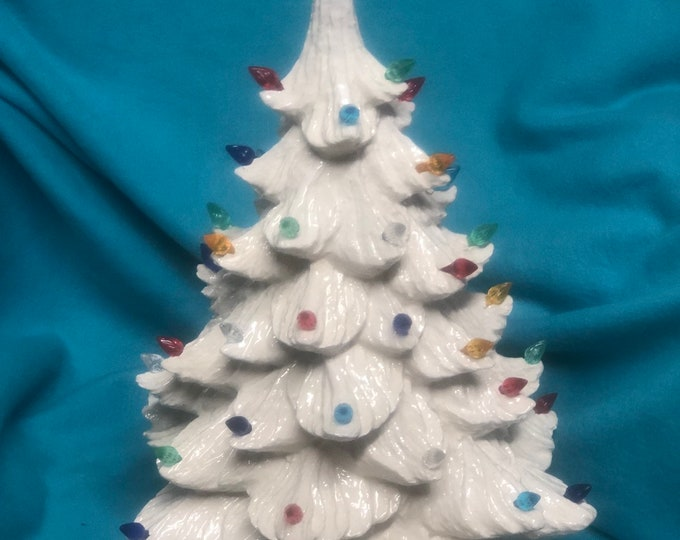 Glazed White Ceramic Christmas Tree with multicolor lights and iridescent star included