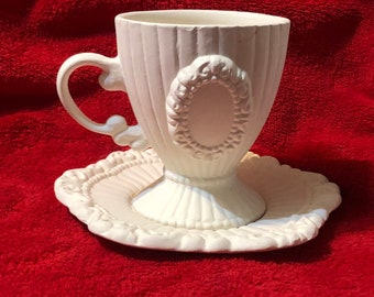 Rare Vintage Tea Cup and matching Saucer in ceramic bisque ready to paint