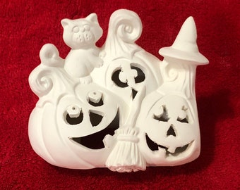 Clay Magic's Jack O Lantern Lid with cut outs in ceramic bisque ready to paint