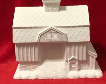 Ceramic Barn with Cobblestone Base Bisque ready to paint