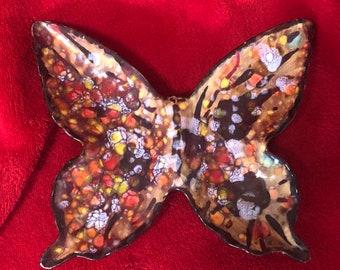 Rare Vintage Glazed Ceramic Butterfly Tray