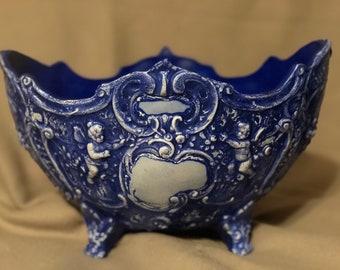 Cobalt Blue Antiqued Fruit Bowl