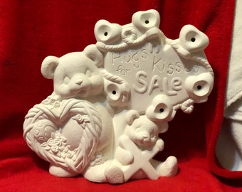 Clay Magic's New Ceramic Hugs and Kisses for Sale Bears with holes for lights in bisque ready to paint