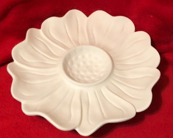 Ceramic Sunflower Chip and Dip Plate in bisque ready to glaze