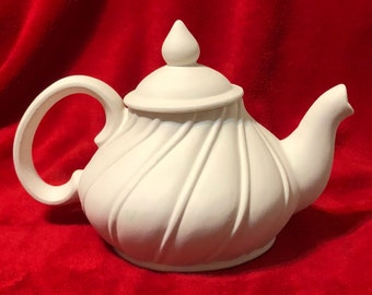 Very Rare Gare Molds Swirl Tea Pot in ceramic bisque ready to paint