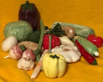 Set of 25 Glazed Ceramic Vegetables by jmdceramicsart
