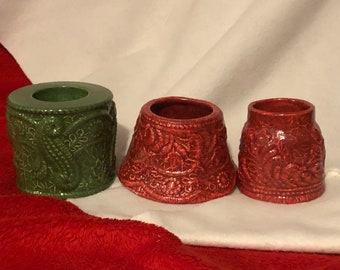 Set if 3 Glazed Ceramic Candle Holders
