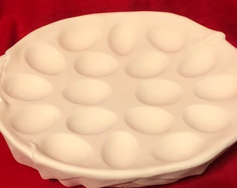 Ceramic Egg Platter in bisque ready to paint