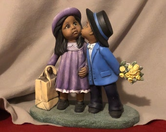 Rare Vintage Dry Brushed Ceramic Boy and Girls first kiss