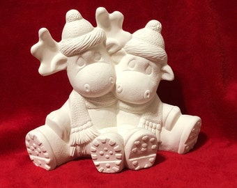 Moose Couple in ceramic bisque ready to paint