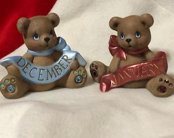Set of 2 Dry Brushed Ceramic Birthstone Bears