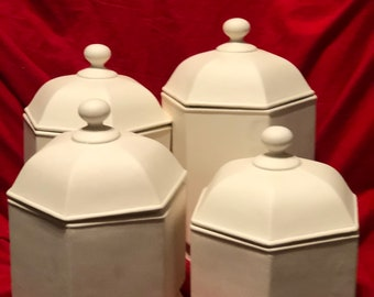 Rare 4 Piece Ceramic Canister Set in bisque ready to paint