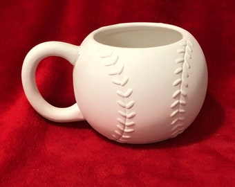 Softball Coffee Mug in ceramic bisque ready to paint