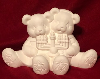 Clay Magic Hanukkah Cuddle Bears in ceramic bisque ready to paint