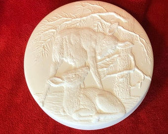 Ceramic Bowl with Deer Lid in bisqueready to paint by jmdceramicsart