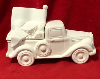 New Clay Magic Old Time Jalopy Pickup Truck Box with Tailgate Football Lid in ceramic bisque ready to paint by jmdceramicsart