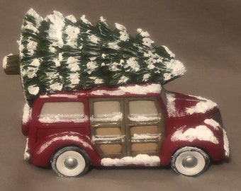 Old Time Woodie with Tree Ceramic Art